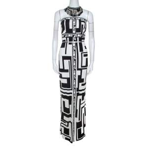 Emilio Pucci Monochrome Printed Silk Beaded Collar Dress M