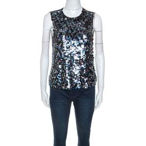 Emilio Pucci Black Sequinned Sleeveless Sheer Top M