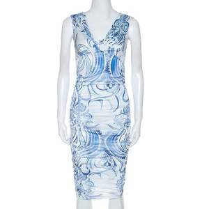 Emilio Pucci Blue and White Printed Ruched Sleeveless Dress S