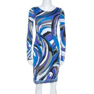 Emilio Pucci Blue Signature Printed Jersey Buckled Dress S