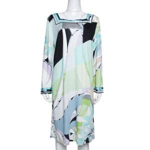 Emilio Pucci Multicolor Printed Jersey Shift Dress XL