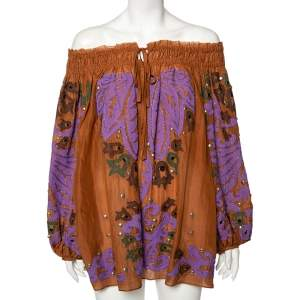 Emilio Pucci Brown Cotton Embellished Off-Shoulder Tunic S
