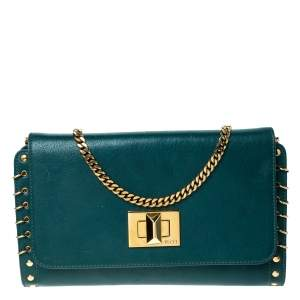 Emilio Pucci Turquoise Leather Chain Shoulder Bag