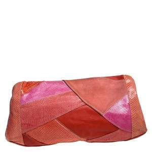 Emilio Pucci Orange/Pink Python/Lizard and Suede Patchwork Clutch
