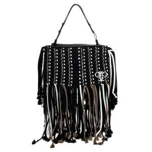 Emilio Pucci Black Fabric Fringe Macrame Shoulder Bag
