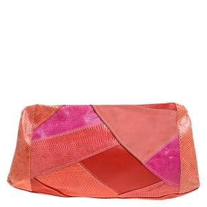 Emilio Pucci Multicolor Exotic and Leather Color Block Frame Clutch