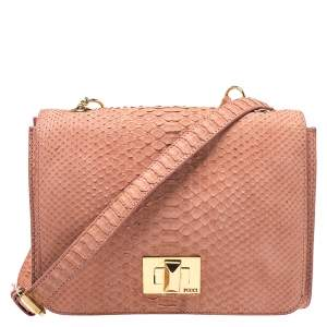 Emilio Pucci Coral Snakeskin Effect Leather Flap Shoulder Bag