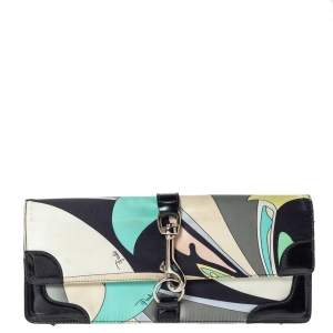 Emilio Pucci Multicolor Printed Satin and Patent Leather Clutch