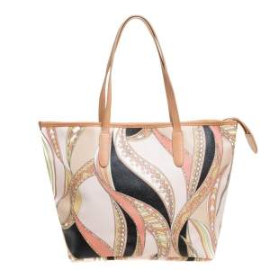 Emilio Pucci Peach Printed Coated Canvas and Leather Zip Tote