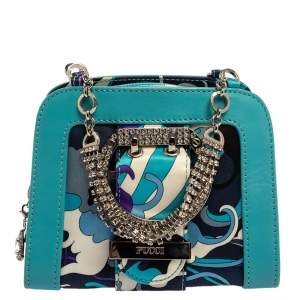 Emilio Pucci Multicolor Satin and Leather Chain Bag