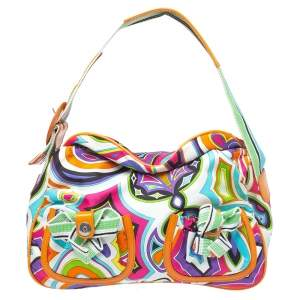 Emilio Pucci Multicolor Printed Fabric Double Pocket Shoulder Bag