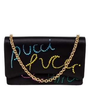 Emilio Pucci Black Leather Crystal Embellished Shoulder Bag