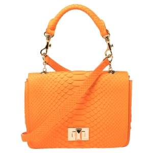 Emilio Pucci Neon Orange Python Marquise Top Handle Bag