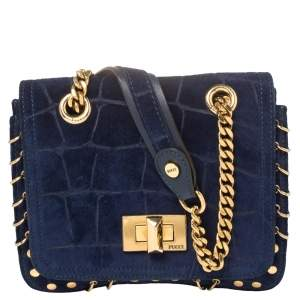 Emilio Pucci Royal Blue Suede Small Marquise Shoulder Bag