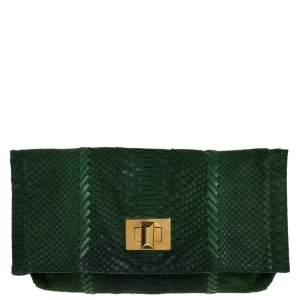 Emilio Pucci Green Python Fold Over Flap Clutch