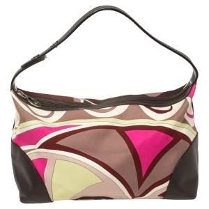 Emilio Pucci Multicolor Printed Canvas and Leather Single Handle Baguette Bag
