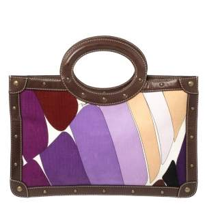 Emilio Pucci Multicolor Printed Corduroy and Leather Ring Handle Tote