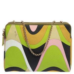 Emilio Pucci Multicolor Printed Coated Canvas and Leather Double Zip Crossbody Bag
