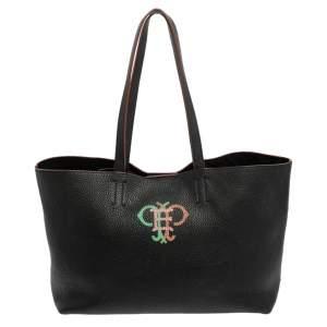 Emilio Pucci Black Grained Leather Printed Shopper Tote
