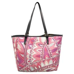 Emilio Pucci Pink Coated Canvas Tote