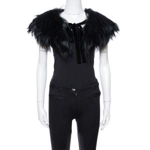 Emporio Armani Black Fur Collar