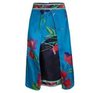 Emporio Armani Multicolor Floral Printed Silk Layered Midi Skirt XS