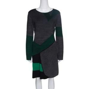 Emporio Armani Black Striped Knit Pleat Detail Long Sleeve Dress M