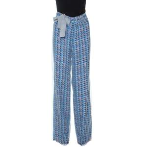 Emporio Armani Multicolor Printed Mesh Overlay Trousers M