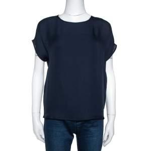 Emporio Armani Navy Blue Silk Blouse S