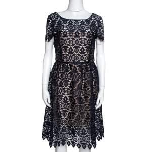 Emporio Armani Navy Blue Guipure Lace Overlay Sheath Dress M