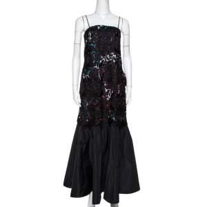 Emporio Armani Black Printed Satin & Lace Overlay Maxi Dress S