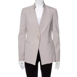 Emporio Armani Beige Textured Crepe Button Front Stand Collar Blazer M