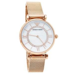 Emporio Armani Mother Of Pearl Rose Gold Tone Stainless Steel Gianni T-Bar AR11320 Women's Wristwatch 32 mm