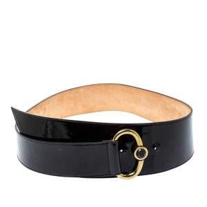 Emporio Armani Black Patent Leather Wide Belt 85CM