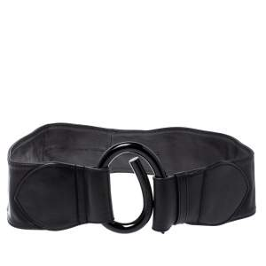 Emporio Armani Black Leather Waist Belt 75CM