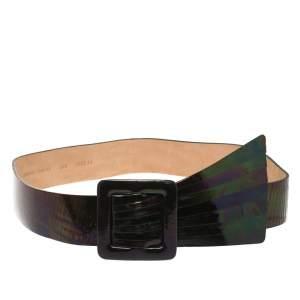حزام خصر أمبوريو أرماني جلد تفاصيل طية إريدسنت 85 سم