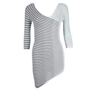 Emporio Armani Grey Striped Pleated Asymmetric Stretch Top S