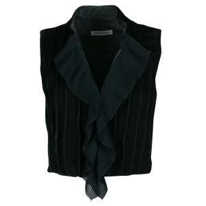 Emporio Armani Vintage Green Velvet Ruffle Front Cropped Sleeveless Jacket S