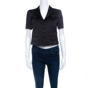Emporio Armani Black Satin Short Sleeve Cropped Jacket S
