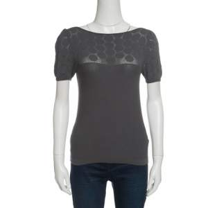 Emporio Armani Grey Knit Perforated Bodice Detail Short Sleeve Top S