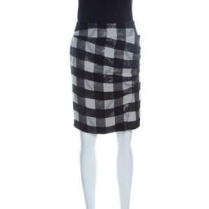 Emporio Armani Monochrome Checkered Lurex Knit  Pencil Skirt S