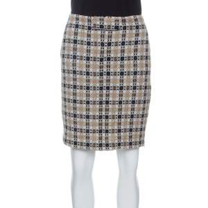 Emporio Armani Patterned Wool and Lurex Pencil Skirt M
