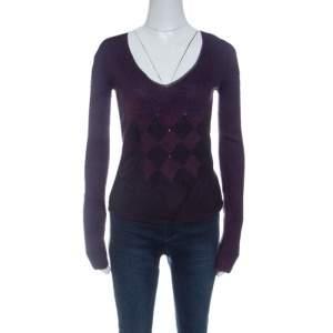 Emporio Armani Purple Diamond Pattern Long Sleeve V Neck Sweater M