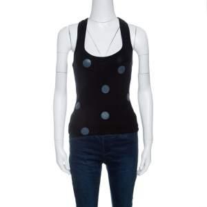 Emporio Armani Black Ribbed Knit Polka Dot Tank Top S