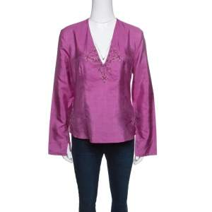 Emporio Armani Pink Raw Silk Embellished Long Sleeve Top L
