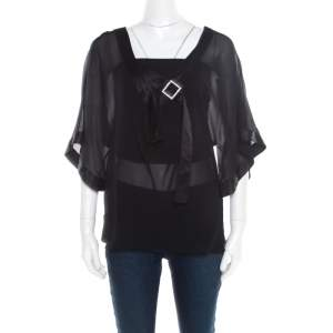 Emporio Armani Black Sheer Silk Embellished Satin Trim Blouse L