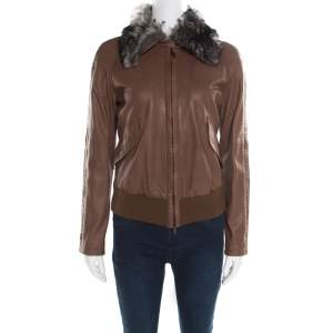 Emporio Armani Brown Leather Fur Collar Detail Zip Front Jacket S