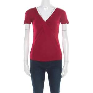 Emporio Armani Red Twist Front Detail Short Sleeve Top S