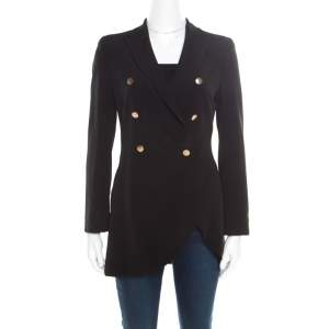 Emporio Armani Black Double Breasted Asymmetric Blazer S