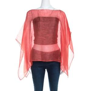 Emporio Armani Tangerine Linen Silk Sheer Poncho M